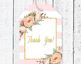 Thank you tags, Printable favor tag, Gold baby shower favor tags,  Baby shower thanks, Baby shower party decor, Gold  favor tag, Pink-3