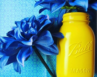 Mason jar- yellow with blue flower pens