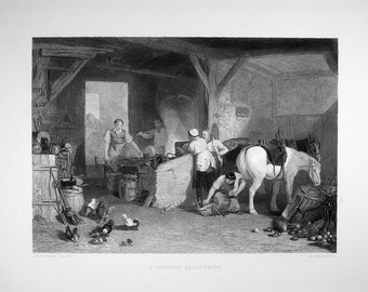 1897 Antique Engraving – A COUNTRY BLACKSMITH Steelplate Engraving after JMW Turner, engraved by C.W. Sharpe