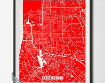 Baton Rouge Print Louisiana Poster Baton Rouge Map Louisiana Print Louisiana Map