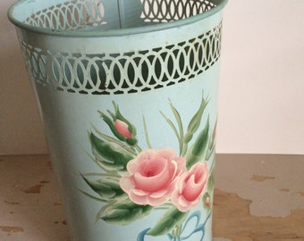 Lovely Vintage Toleware Trash Can 1950s Mid Century