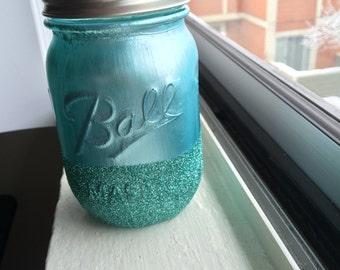 Teal Glitter Jar