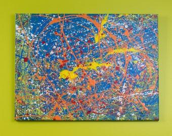 "Retrospec: 18"" x 24"", abstract, original, contemporary, painting, blue, orange, yellow on canvas"