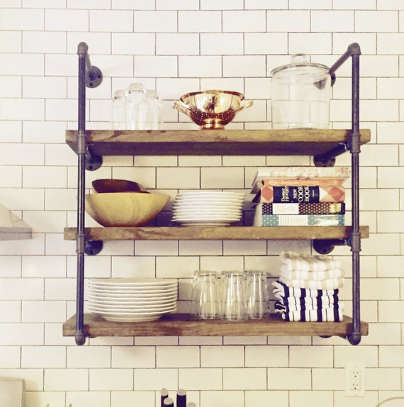Open Shelving Unit Kitchen: 8 Deep Wall Unit 36 Wide Industrial Floating Wall