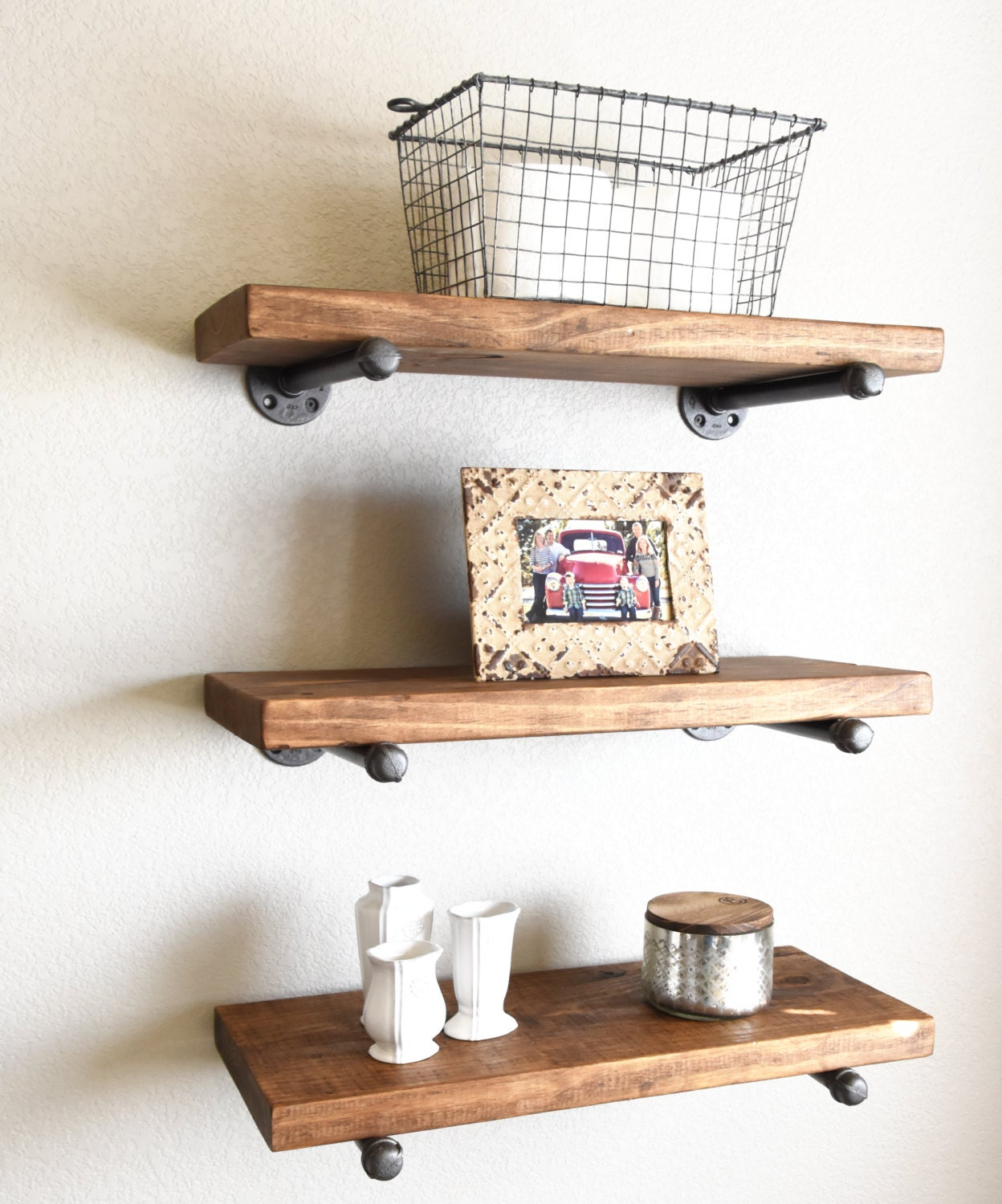 Pipe Shelves Kitchen: 3 Shelf Combo 10 Deep Industrial Floating Shelves