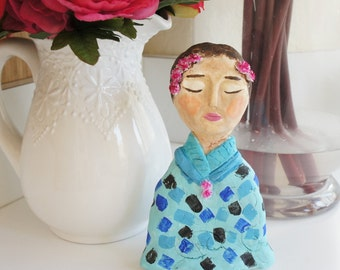 Handmade Paper Clay Doll named Pam