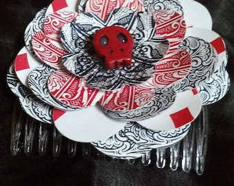 Customizable Playing Card Flower Rose Viva Las Vegas Comb Hair Accessory