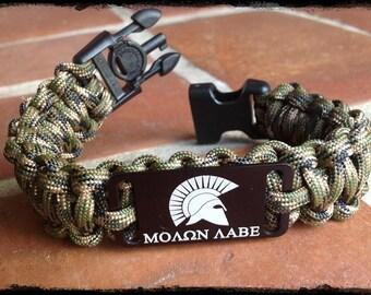 Molon Labe Spartan Paracord Bracelet w/ Hidden Handcuff Key Buckle