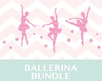 Pink Ballerina SVG Bundle, Ballet SVG, Ballet Dancer svg, Clipart Ballerina Ballet, Ballerina Silhouette cut files for Silhouette and cricut