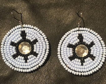 Beaded Turtle Earrings in Powder Blue