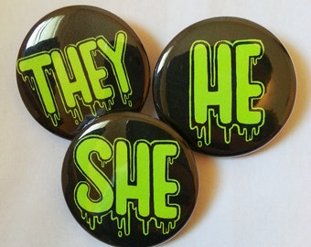 Button - UV Neon Pronouns for LGBT, Queer & Transgender folk
