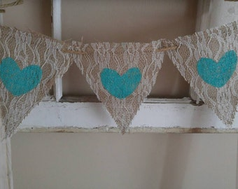 Burlap and Lace Pennants