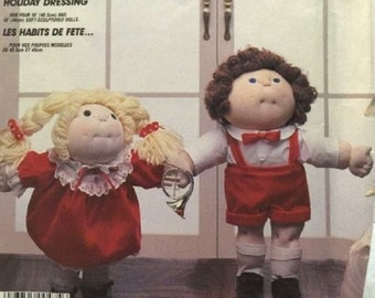 """McCall's 2243 Holiday Dressing for Cabbage Patch Dolls (Sz 16,18"""") Uncut"""