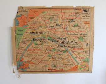 Old school Vidal-Lablache Paris capital city map