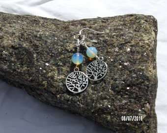 Natural Sri Lankan Moonstone with Tree of Life Earrings