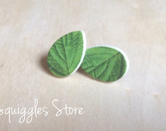 Hypoallergenic Stud Earrings with Titanium Posts - Wood Leaf GreenTeardrop - Sensitive Ears