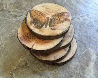Wood slice coasters (4) with 19th century butterfly print transfer, horses, herbs, or plain chestnut. Wood slices, wood rings, wood rounds.