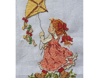 FREE SHIPPING!  Finished Cross Stitch 'kite lover',ready to be framed and be impressive gift or home decor