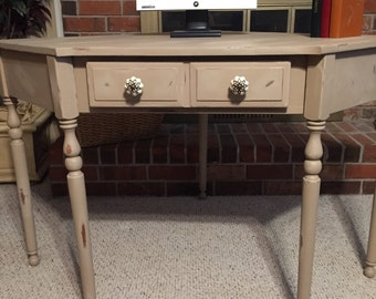 Vintage desk, Corner piece, Five sided,Repurposed, Chalk Paint, Distressed