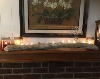 Bluegrass Drift: Driftwood Mantelpiece, 10 Tealight Candle Holder, Sequenced 3-2-3-2.