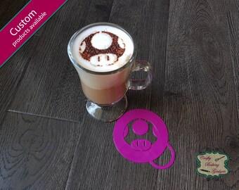 Mushroom - Super Mario Bros - Coffee Stencil