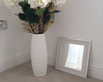 White/Silver wood frame mirror 250 x 250