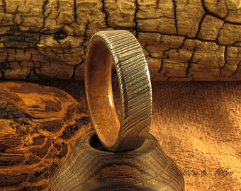 Damascus steel and Madrone Burl Ring