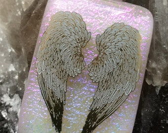 Cremation ashes Handmade Dichroic glass kiln fused pendant, Tree of Life/Angel Wings, Made to order, Silver bail & chain, choice of colours