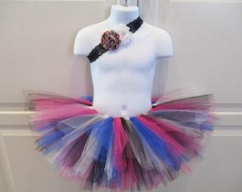 Black, Blue, Pink and White Tutu and Matching Headband