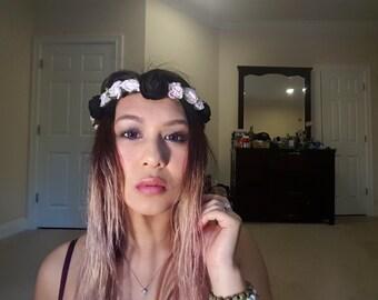 Pink and black felt flower crown
