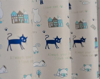 """Lovely Cat Curtains up to 106""""L,Custom Made Size Curtains,high quality curtains"""