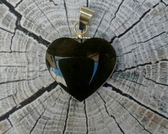 Obsidian heart pendant / necklace semiprecious spiritual / black obsidian glass / - Root Chakra - black glass heart