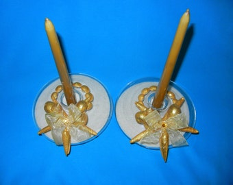 Pair of gold shell candle holders with genuine Florida sand