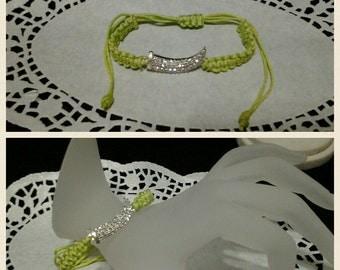 lime green macrame bracelet with rhinestone charm