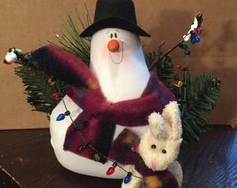 Vintage Soft Snowman Figurine with Bunny