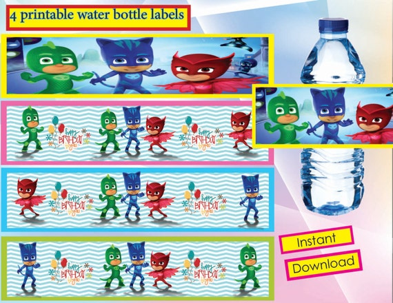 Instant Download PJ Masks Water Bottles Labels PJ Masks