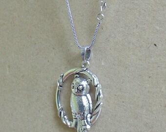 Owl Pendant   Pendant with chain   Silver Oxidized Pendant   Handmade Pendants   Tribal Pendant from India   Christmas Gift Pendant   P10