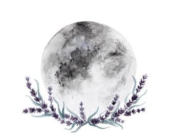 Lavender Moon Print || Decor Art, Luna Art, Moon Painting, Moon with Flowers, Boho