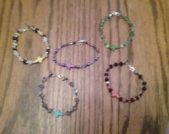 glass bead cross bracelets
