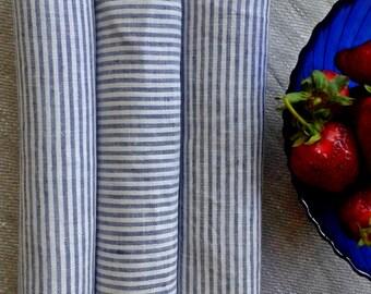 Linen Napkins, Set of 6, Natural Napkins, Kitchen Napkins, Striped Blue Table Napkins