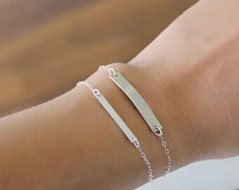 Rose Gold Bar Bracelet, Personalized Bar Bracelet, Custom Bar Bracelet, Sterling Silver or Gold Filled, Delicate Bar Bracelet Gift for Her