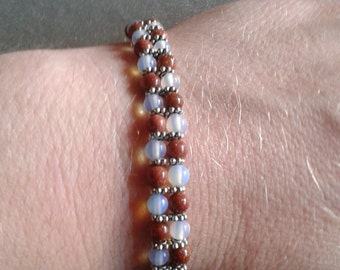 FREE SHIPPING Gold Sand and Opal bracelets