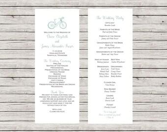 Rustic Wedding Program, Printable Wedding Program, Bike Wedding Program, Customizable Wedding Program