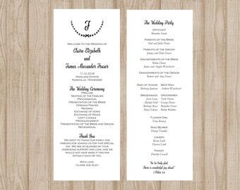 Modern Wedding Program, Printable Wedding Program, Black and White Wedding Program, Customizable Wedding Program