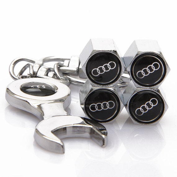 Audi Spanner KeyRing and Valve Caps Car Keyring by TurboKeyRings