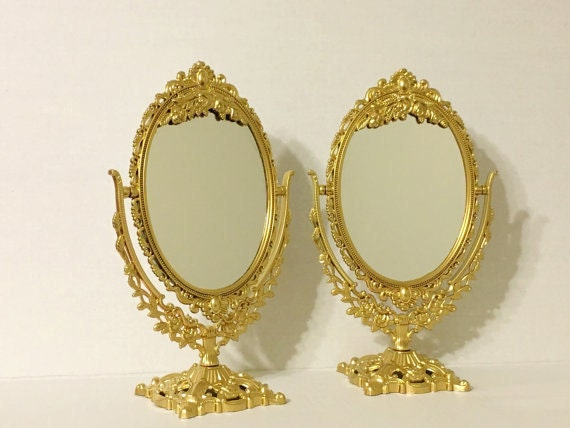 Set of 6 gold mirrors stunning table numbers small metallic for Small gold mirror