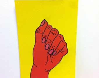 Orange Hand A5 Original Painting, Signed and Editioned