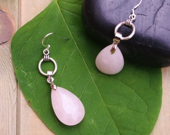 Rose Quartz Earrings With Sterling Silver Plated Brackets