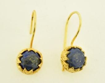 Lapis  Gemstone Earrings 18 karat Gold plating in sterling silver