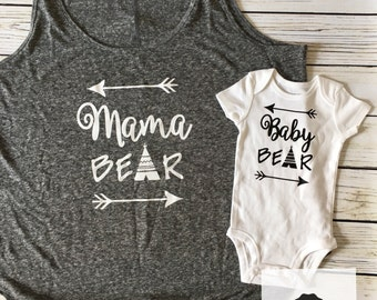 Baby Bear Teepee Onesie/ Baby Bear Bodysuit